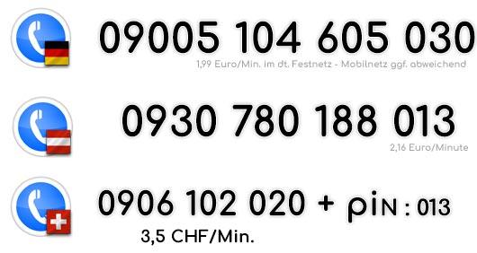 Beim Live Telefonsex mal so richtig gedemütigt werden und die Befehle der Herrin befolgen ? Wähle deine Nummer für Deutschland, Österreich und die Schweiz