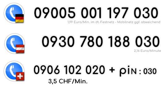 Du kannst sofort live Telefonsex mit dieser geilen Milf genießen indem du diese Nummer für Deutschland, Österreich oder die Schweiz, anwählst !