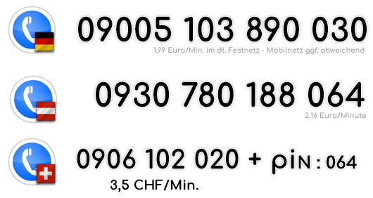 Telefonsex mit Trans Schwanzfrauen unter diesen Rufnummern für Deutschland, Österreich und die Schweiz.